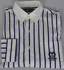 Ralph Lauren Wimbledon Button Front Shirt Mens Medium White Blue New