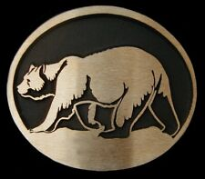 Grizzly Bear Rainbow Metals Solid Sand Cast Bronze Belt Buckle Brand New