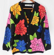 Vtg Chaus Petites Cardigan Sweater Cotton Blend Multi-color Beading Trim Size M