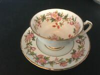 BONE CHINA CUP & SAUCER FLORAL STAFFORDSHIRE BLOSSOM BRANCHES BLUE RED BERRIES