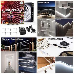 50FT Waterproof LED Strip Lights, 6000K Cool White Tape Light, 15M 12V US Stock