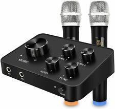 Portable Karaoke Microphone Mixer System Set, With Dual UHF Wireless Mic, HDMI
