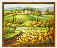 Italy Wine Vineyards  20 x 24 Art Oil Painting on Canvas w/Custom Frame
