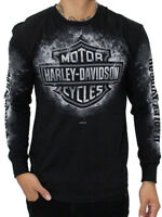 Harley-Davidson Mens Smoke Clouds B&S Logo Black Long Sleeve T-Shirt
