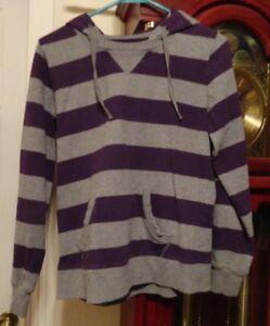 S Ladies Womens Juniors SJB Active Hoodie Shirt Knit Top Purple Gray Stripes LS