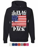 If This Flag Offends You I'll Help You Pack Hoodie Patriotic Sweatshirt