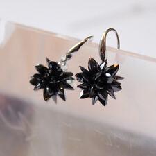 925 Sterling Silver Drop Earrings Black Frosty Flower Bridal Earrings