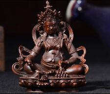 """4"""" Antique Tibetan Buddhist hand made copper Yellow Jambhala Zanbala statue"""