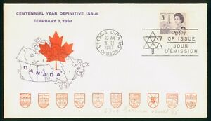 Mayfairstamps Canada FDC 1967 Centennial Year Queen Coat Arms First Day Cover ww