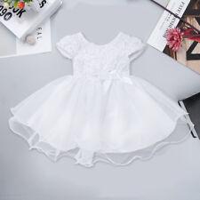 0-3M Baby Girls' Dress White Flower Party Wedding Birthday Christening Dresses