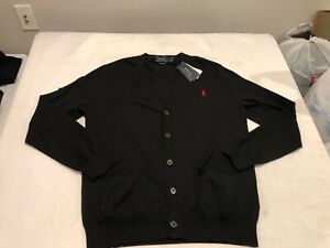 NWT $98.50 Polo Ralph Lauren Mens Pima Cotton Cardigan Sweater Black Size MEDIUM