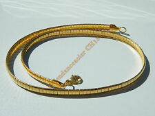Chaine Collier Ras de Cou 45 cm Maille Serpentine Incurvé Plaqué Or Acier 6 mm