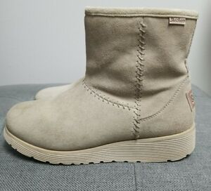 Skechers Womens Size 8.5 Keepsake Wedge Suede Boots Faux Fur Lined 49814 Natural