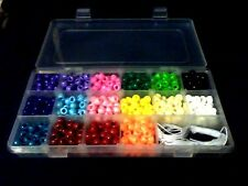 Beads Kit, Inc 800 Pony Beads, 1x18 Compartment Case, 10M Elastic