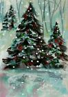 ACEO Original CHRISTMAS Pine PAINTING Snow Holiday TREES Cold Landscape ATC ART