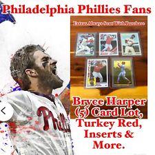 Philadelphia Phillies Bryce Harper (5) Card Lot, Turkey Red & More.