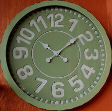 STUNNING ! Large Round Sage   Metal   Wall Clock    60 cm  BRAND NEW