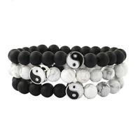 Men Women Natural Gemstone Beads Stone Yin Yang Beaded Bracelet Jewelry Gift EO