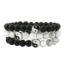 Men Women Natural Gemstone Beads Stone Yin Yang Beaded Bracelet Jewelry GiftBDA