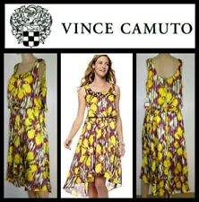 $139 Vince Camuto Yellow Multi Floral Print Sleeveless High Low Dress ~ 6 M3020