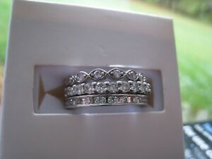 Ring Bomb Party Farmhouse Triple Band Pink/Dia Cubic Zirconia size 7