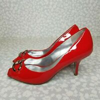 Jessica Simpson ROCKY Red Patent Leather Peep Toe Heels Size 7