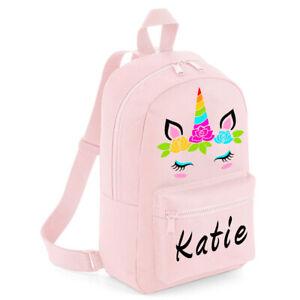 Personalised Kids Backpack Pink Any Name Unicorn Girls Back to School Bag