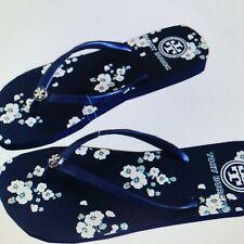 2bf2e32fecf L  K NWT Size 10 NEW Tory Burch Printed Floral Navy Blue Cream Flat