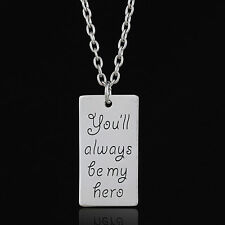 """""""You'll Always Be My Hero"""" Engraved Pendant Chain Necklace Father's Gift Charm"""