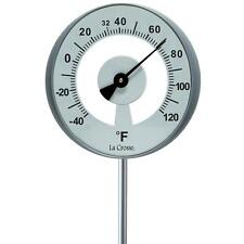Weather Resistant Large Round Garden Analog Thermometer with Aluminum Rod