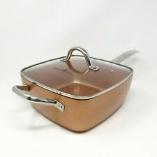 """Copper Deep Frying Pan and Lid - Copper Induction Square Deep 9.5"""""""