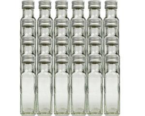 24 Maraska 100 ml leere Glasflaschen Maraska Likörflaschen Flasche Eckig Silber