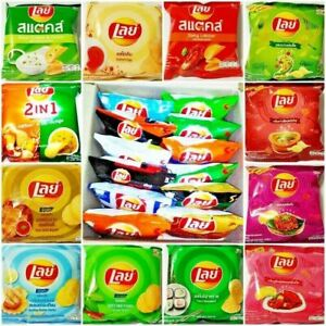 12 PACK LAYS POTATO CHIPS CRISPY FLAVORS ASIA SNACK FOOD YAM Party Camping13g.