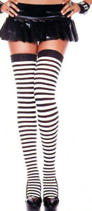 Opaque Striped Stockings Sexy Witch Pirate Black / White Music Legs 4741