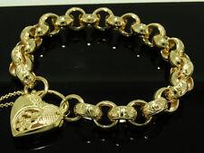 B02J- Genuine 9K 9ct Gold HEAVY Day-Night Belcher Heart PADLOCK Bracelet 19.5cm