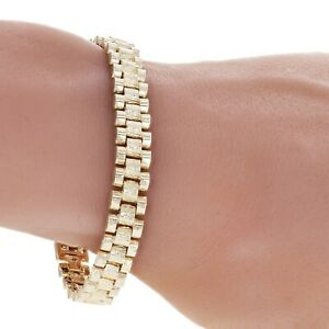 "10k Yellow Gold Watch Link Chain Bracelet Adjustable 8""-8.5"" 8.5mm 21 grams"