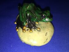 RESIN GREEN FROG WITH GOLD ACCENTS ON A ROCK