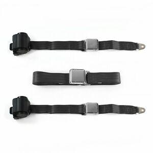Chevy II 1966-1967 Airplane 2pt Black Retractable Bench Seat Belt Kit - 3 Belts