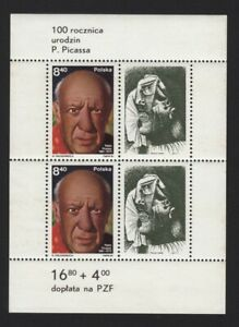 Pablo Picasso SPANISH Artist Painting MNH Minisheet of 2+ 2 labels POLAND 1981