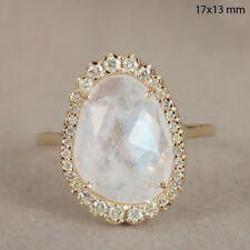 Moonstone 14k Yellow Gold Pave Natural Diamond Ring Fine Jewelry CHRISTMAS GIFT