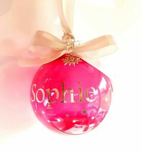 Personalised Blue or Pink Bauble Featuring any Name with Stars