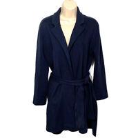 J Crew Sophie Wrap Sweater Blazer Women's Size Small Navy Blue Pockets Side Slit