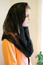 Evintage Veils~ Our Lady of Fatima Black Infinity Veil Lace Chapel Veil Mantilla