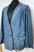 J Jill Denim Blazer Jean Jacket Med Blue Semi Structured 2 Button Pockets LG EUC