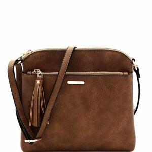 Quality PU Leather Tassel Accent Multi Pocket Medium Cross Body Messenger Bag