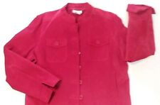 EUC Woman's Worthington Red Suede Leather Jacket w/ Manderin Collar Size Large