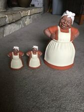 Rare Vintage Black Americana  Sassy Mammy Cookie Jar Aunt Jemima Salt & Pepper