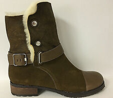 MATT BERNSON - TUNDRA BARK SUEDE/CREAM SHEARLING BOOT SZ 8 RETAIL $389