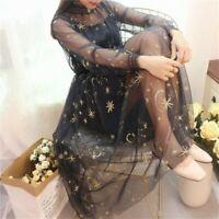 Lady Embroidery Mesh Star Dress Retro Lace Sheer Lolita Fairy Sweet Long Sleeve