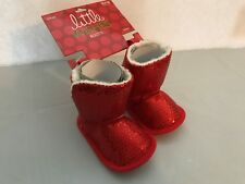 Red Sequin Boots Baby Girl Sz 3-6 Mo. Fleece Lined Hook & Loop Little Wishes NEW